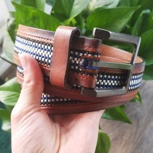 Columbia | Brown Leather Belt with Fabric Inlay 40